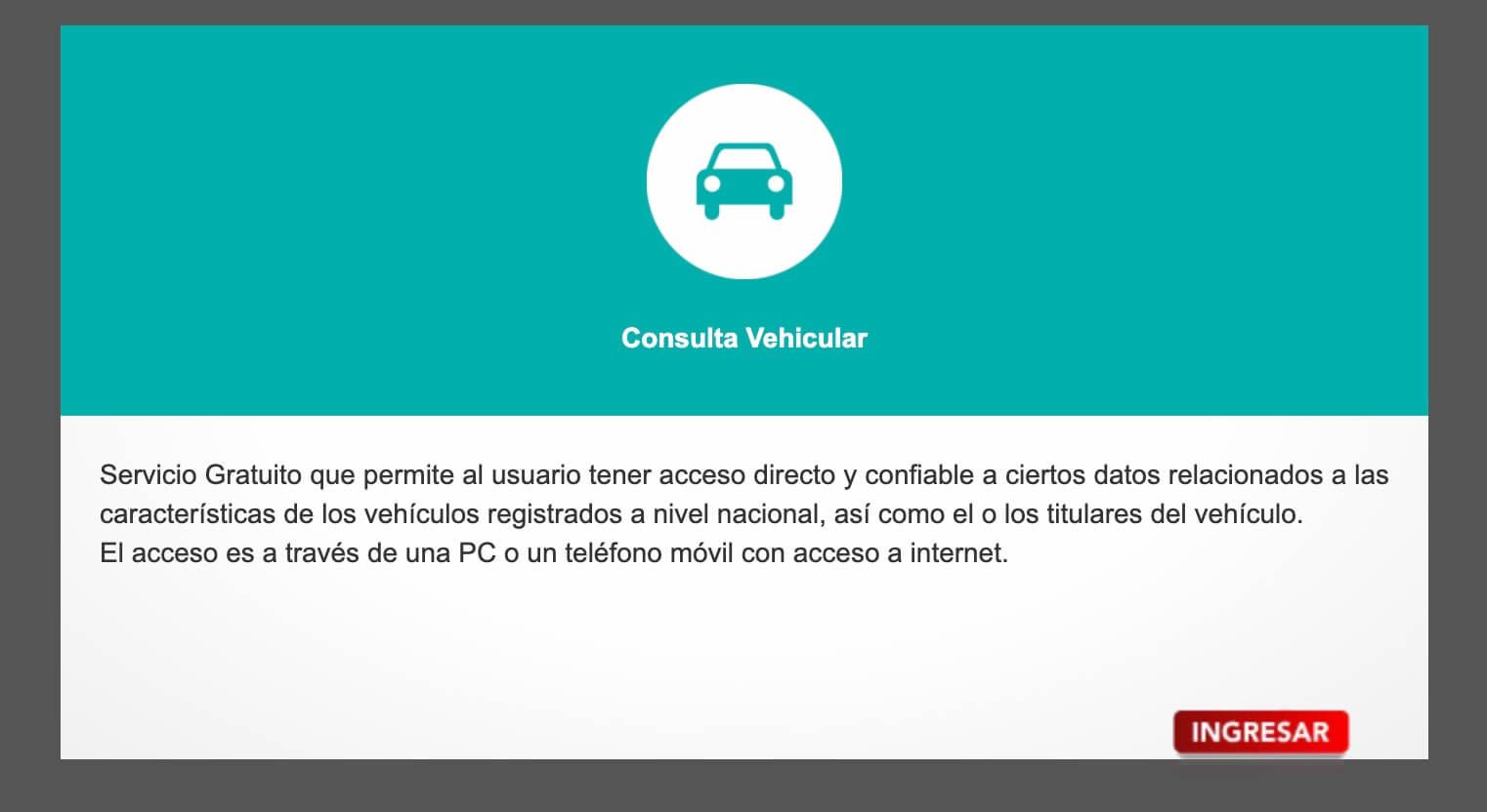 Consulta Vehicular SUNARP en línea