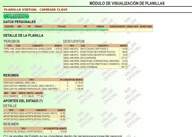 Planilla Virtual PNP