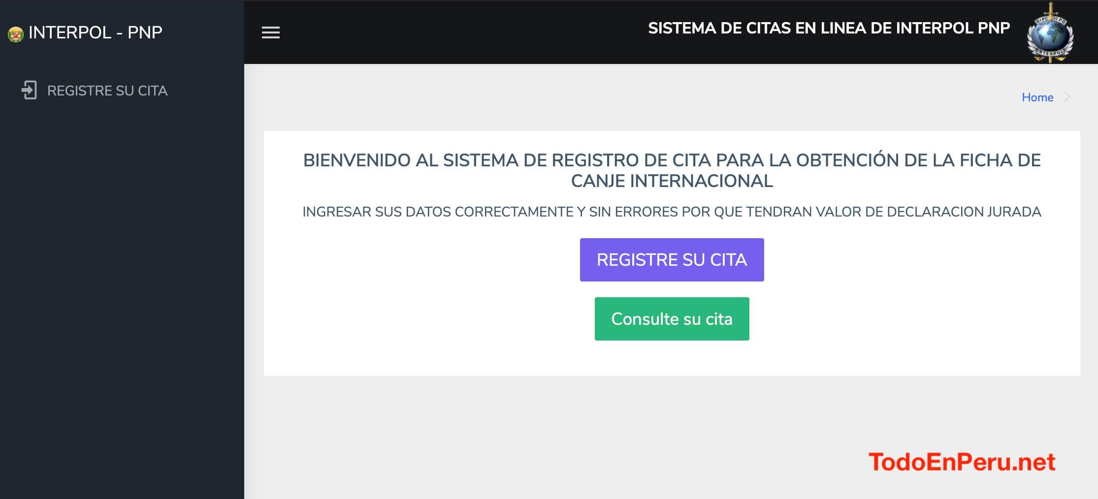 Conoce como solicitar una cita en línea en Interpol Perú para obtener la Ficha de Canje Internacional