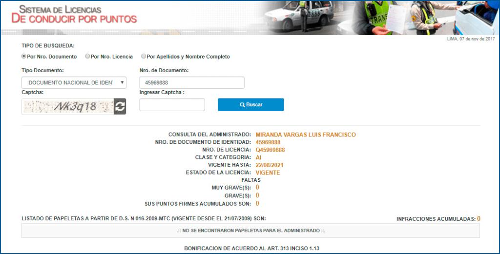 Sistema de licencias de conducir por puntos resultado