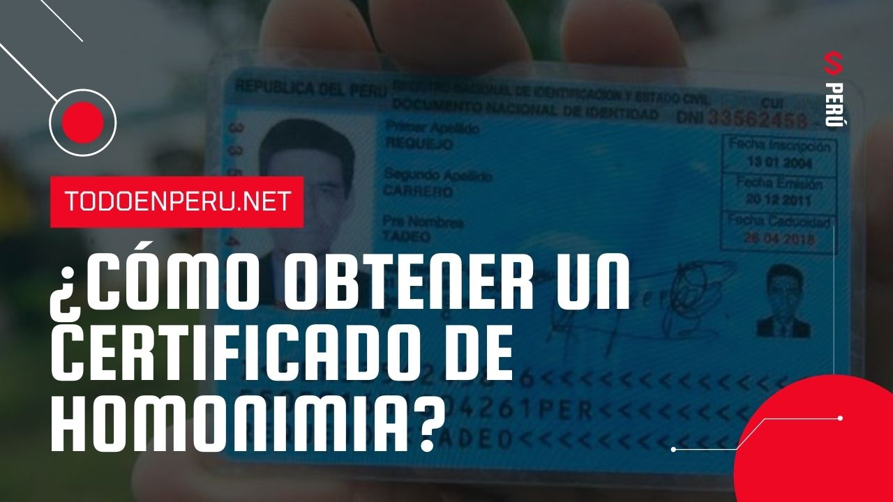 ¿Cómo obtener un Certificado de Homonimia ante el Poder Judicial y el Reniec?
