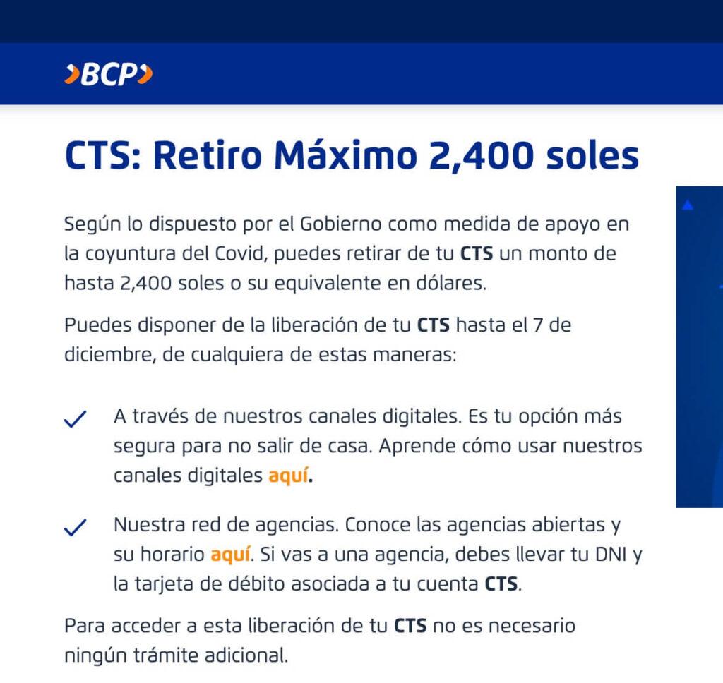 Retiro CTS BCP